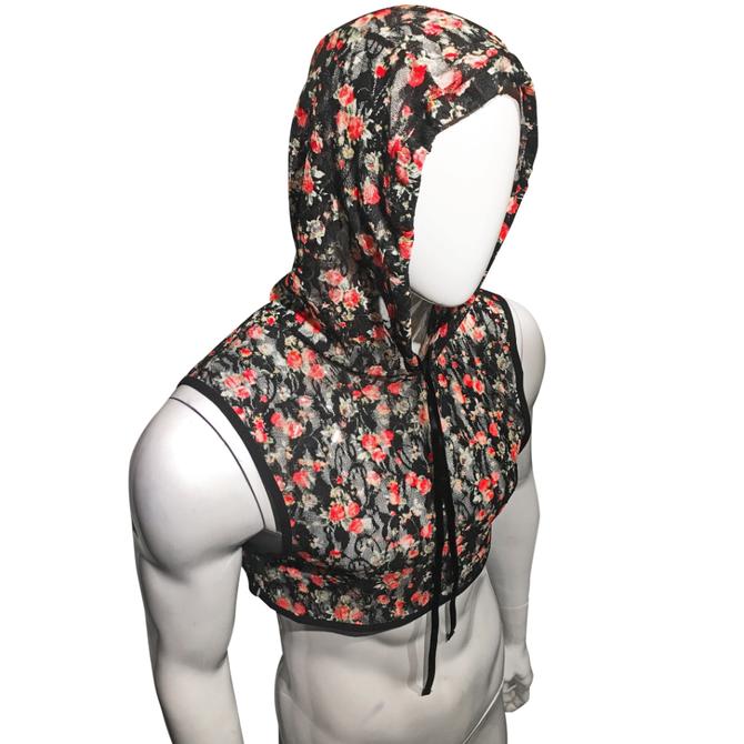 Knobs SF Made Hooded Crop Top - Black Floral Mesh