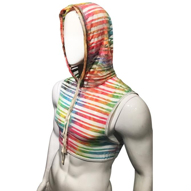 Knobs SF Made Hooded Crop Top - Rainbow Tie Dye Mesh
