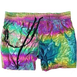 Knobs Iridescent Metallic Shorts - Rainbow