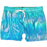 Knobs Iridescent Metallic Shorts - Light Blue