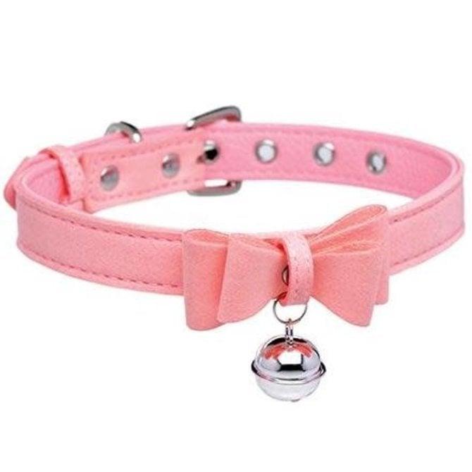 Master Series: Sugar Kitty Cat Bell Collar (Pink/Silver)