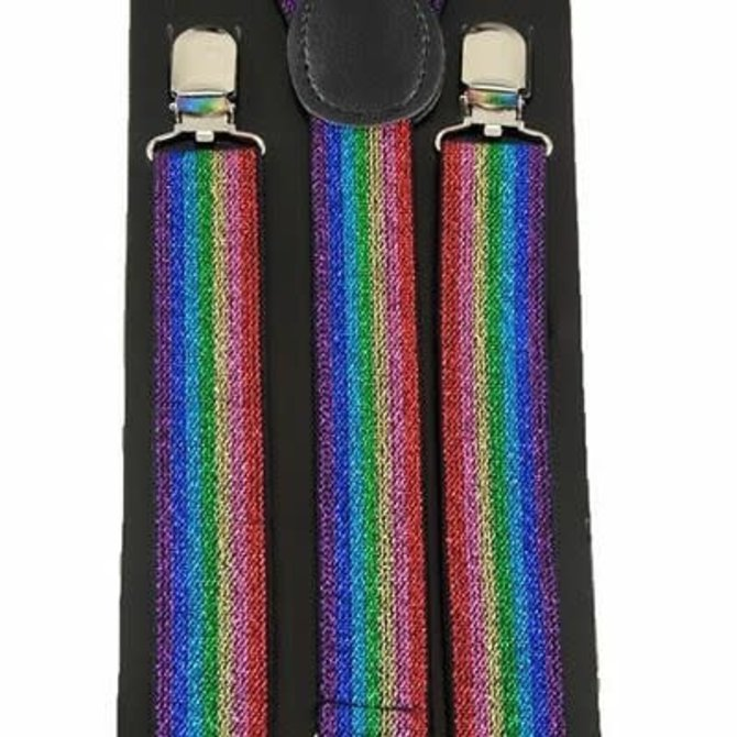 Rainbow Glitter Suspenders