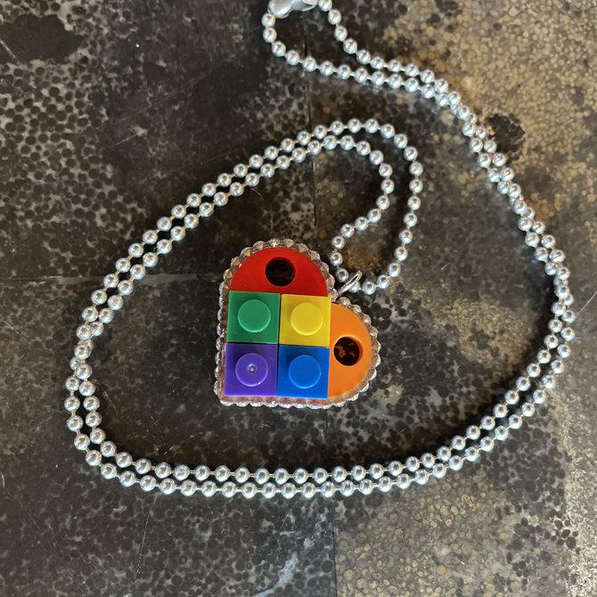 Alan Leingang Rainbow Heart Pendant - Clear Rhinestones