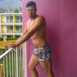 Chris Turk Vintage Floral Stripe Swim Short