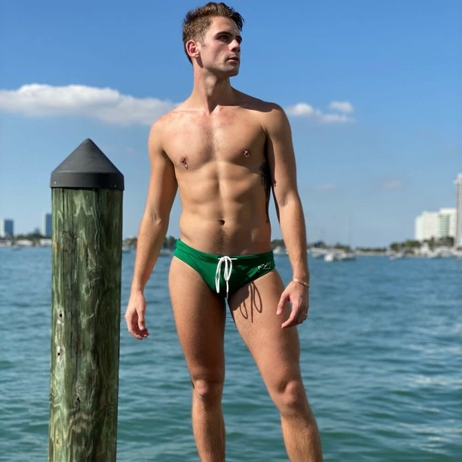 Chris Turk Relaxed Fit Swim Brief - Kelly Green