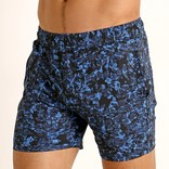 STEELE Stretch Mesh Performance Shorts - Navy/Cyan Grunge