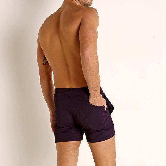 STEELE Stretch Mesh Performance Shorts - Printed - Aubergine