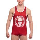 skull & bones Roman Medallion Tank - Red