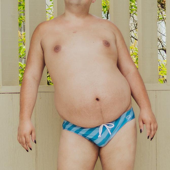 Chris Turk Swim Briefs - Striped Blue