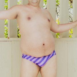 Chris Turk Swim Briefs - Striped Purple