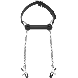 Equine Bit Gag with Nipple Clamps