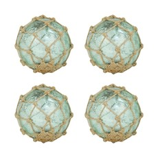 Turquoise Glass Orb w/ rope netting 4""