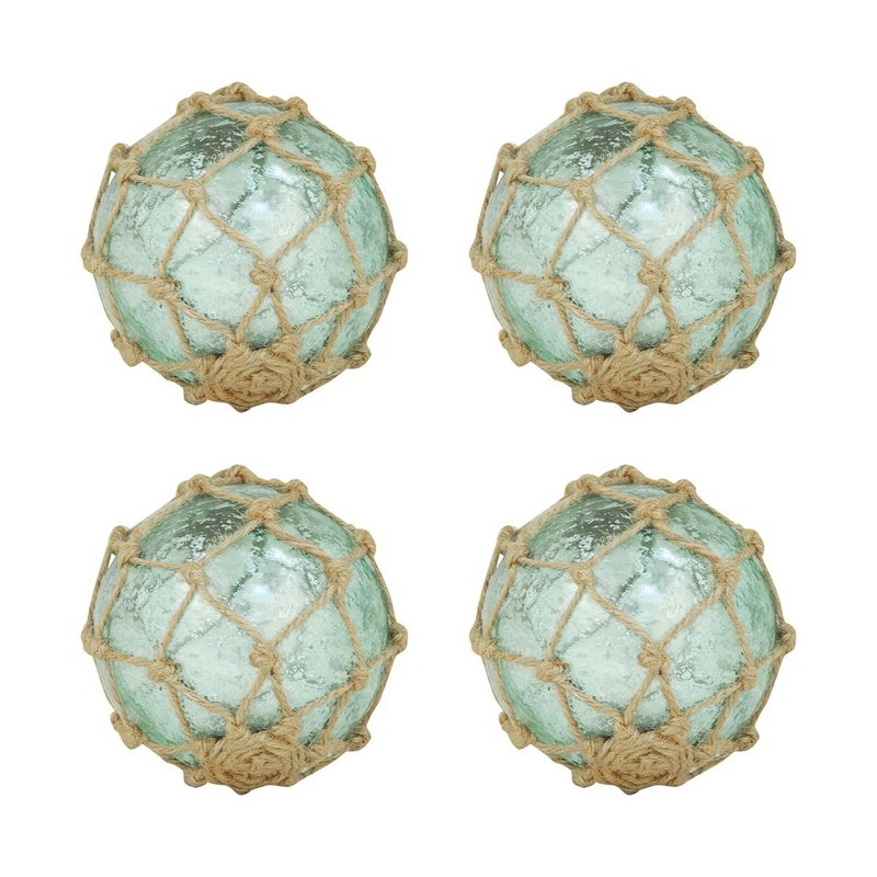 """Turquoise Glass Orb w/ rope netting 4"""""""