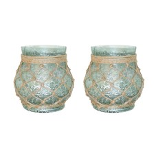 Pomeroy Turquoise Glass Pillar Holder w/rope netting
