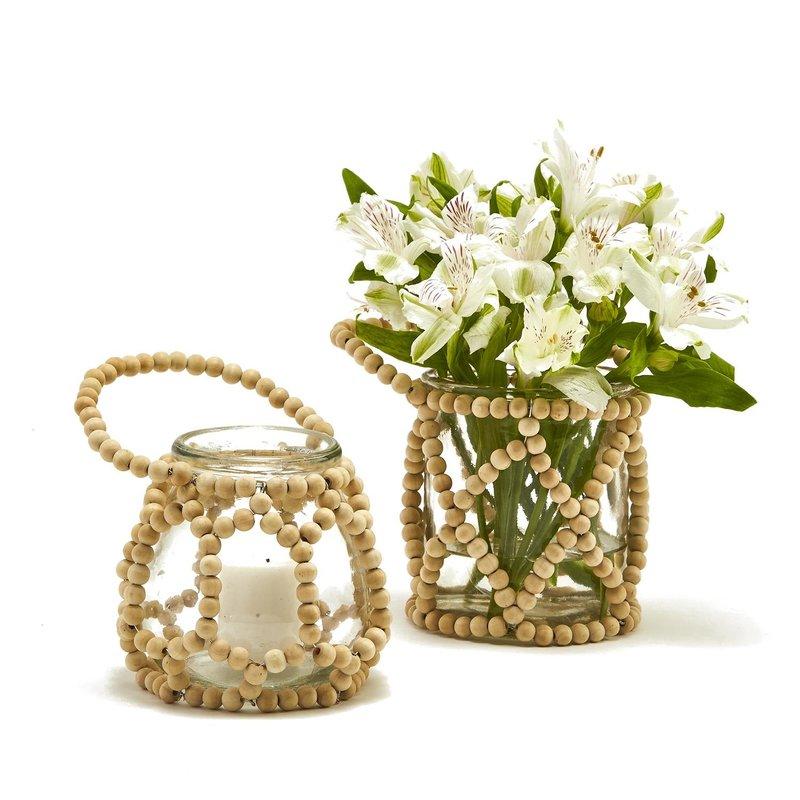 Wood Beaded Jar/candleholder