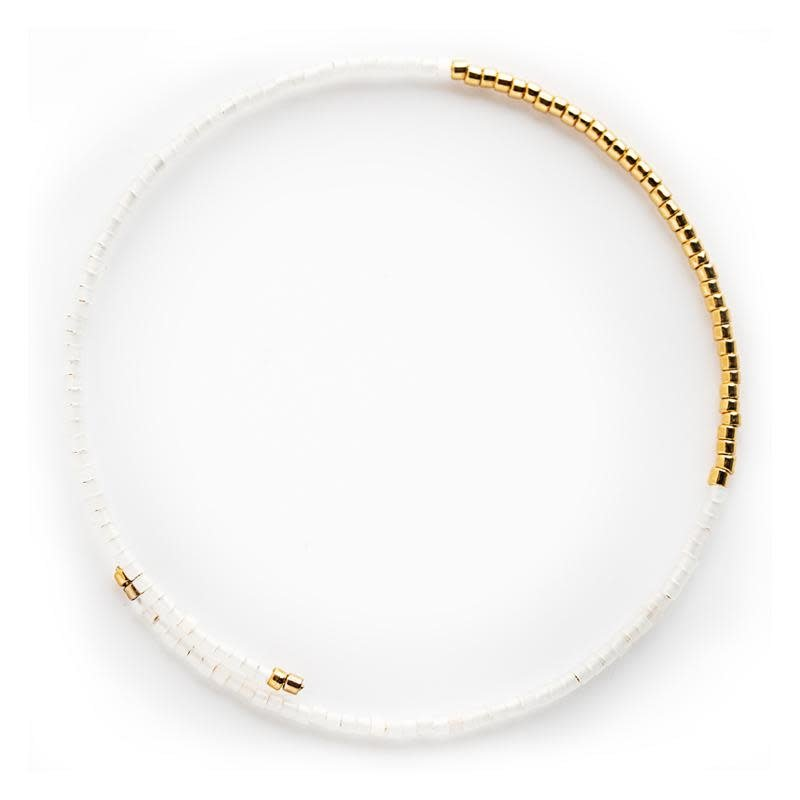 Norah Bangle Bracelets - White Opal