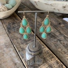 Golden Stella Aqua Chandelier Earrings