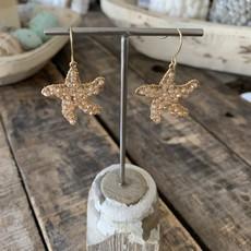The Garret Beaded Starfish Earrings - Gold/Blush