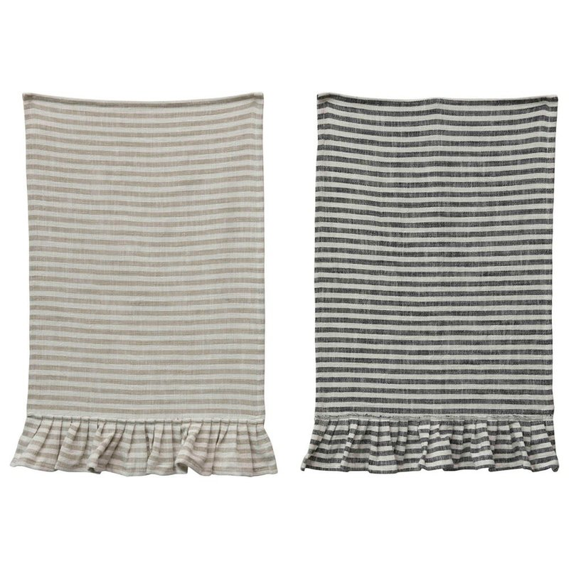 Cotton Stripped Ruffled Hand Towel Sand - Set of 2