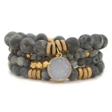 Labradorite Gemstone Stretch Bracelet - 4mm