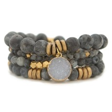 Labradorite Gemstone Stretch Bracelet - 6mm