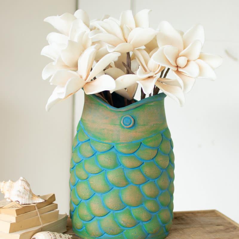 Large fish clay vase