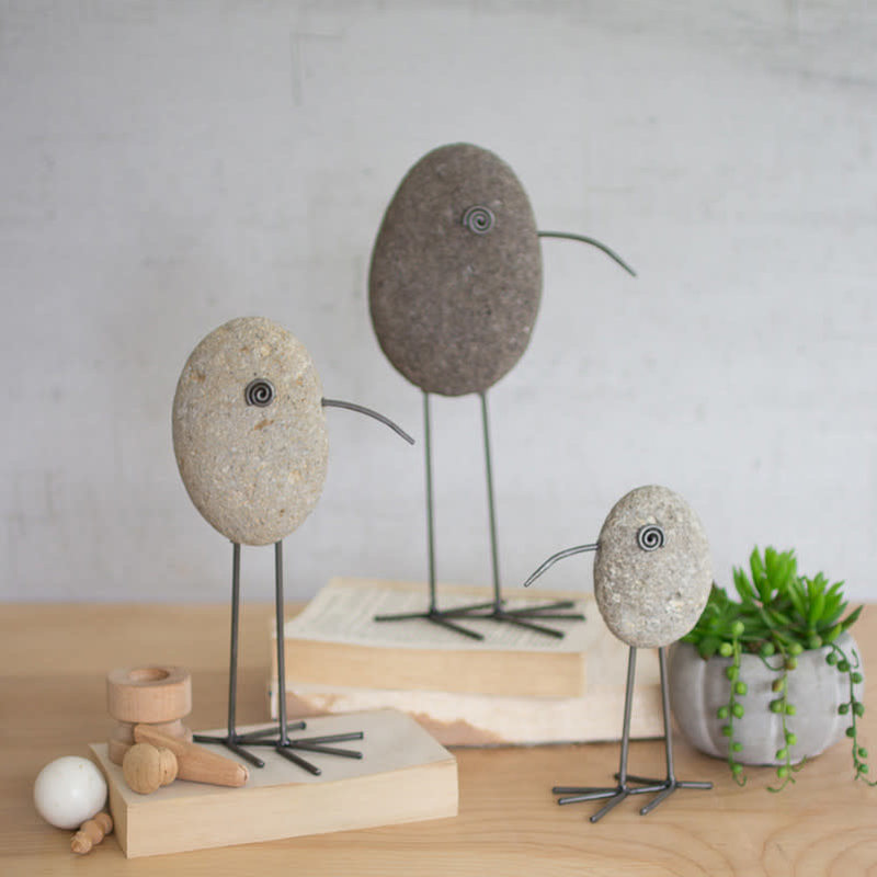 Set of 3 rock and wire beach birds