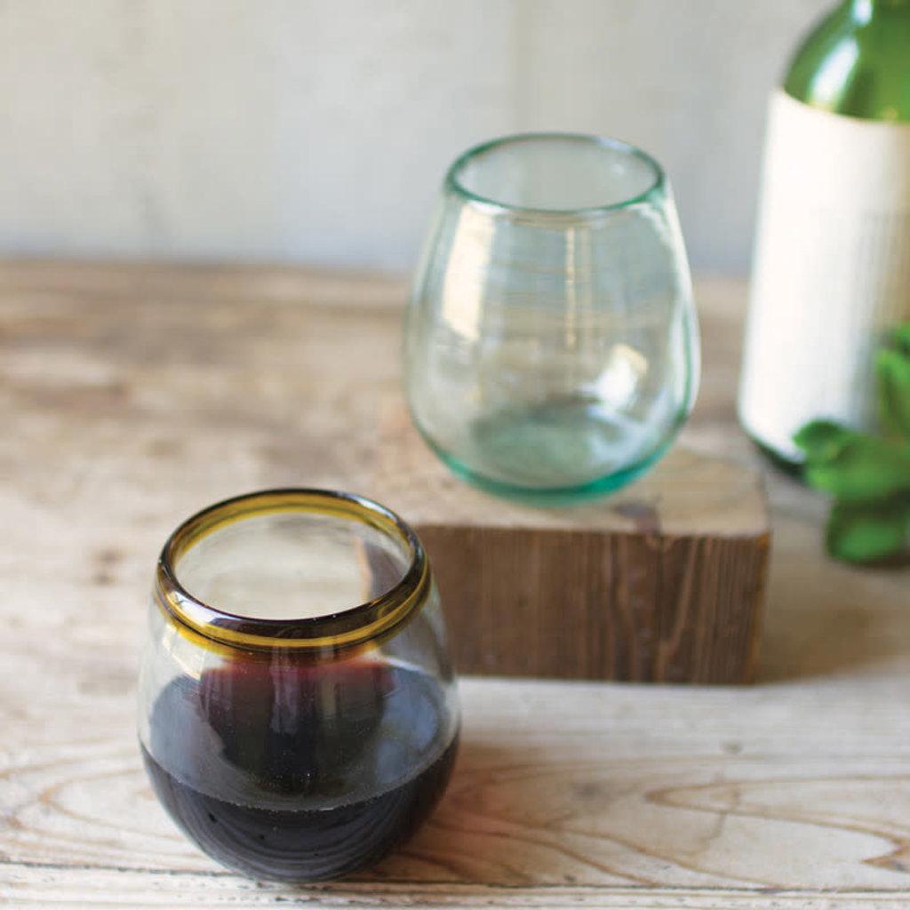 Hand Blown stemless wine glass