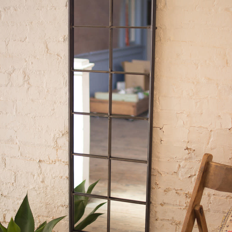 Metal framed wall mirror with twelve windows