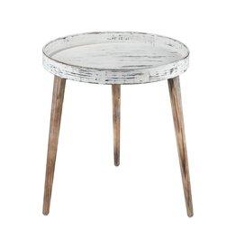 Whitewashed wood side table