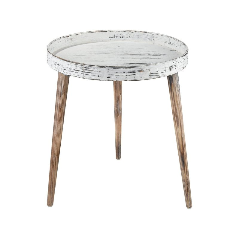 Whitewashed wood side table