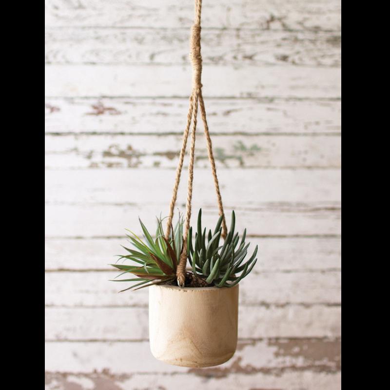 Hand-Carved Wood Vase w/rope