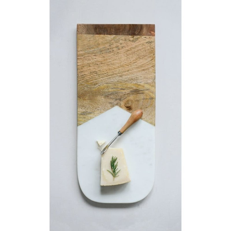 Marble& Mango wood cutting board w/knife