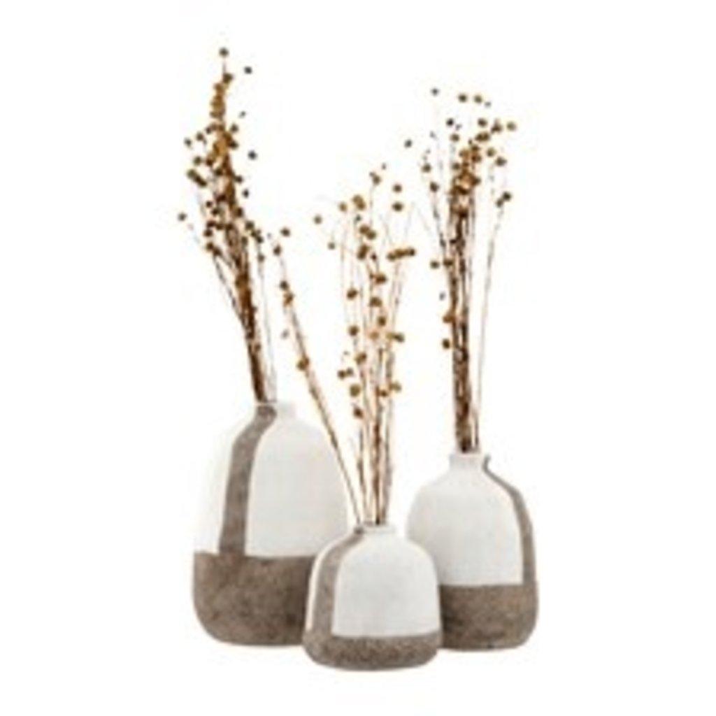 White and Gray Terra Cotta Vases - Set/3