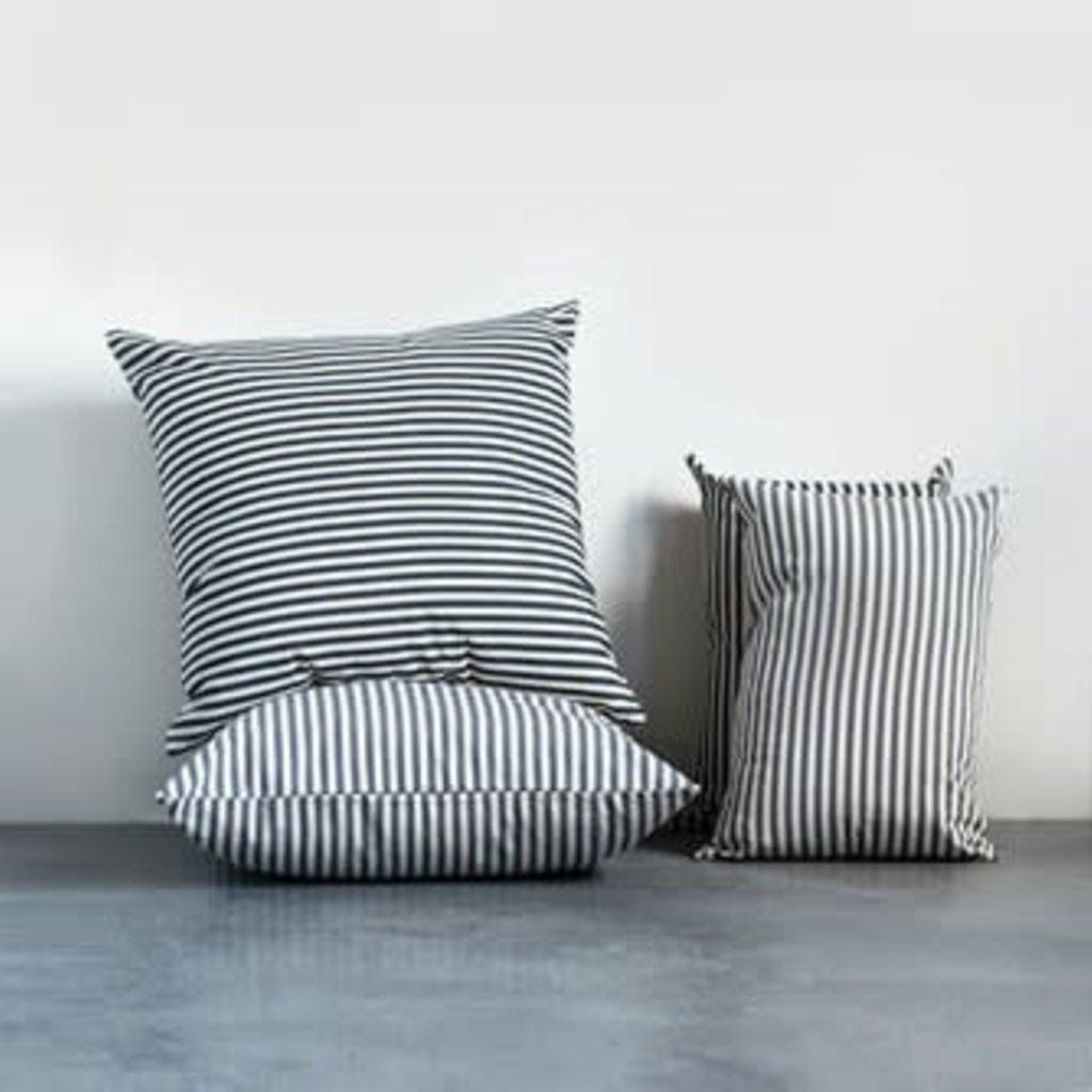 Cotton Stripped Lumbar Pillow - Gray