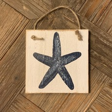 Wood Hanger - Starfish - Indigo Streamer