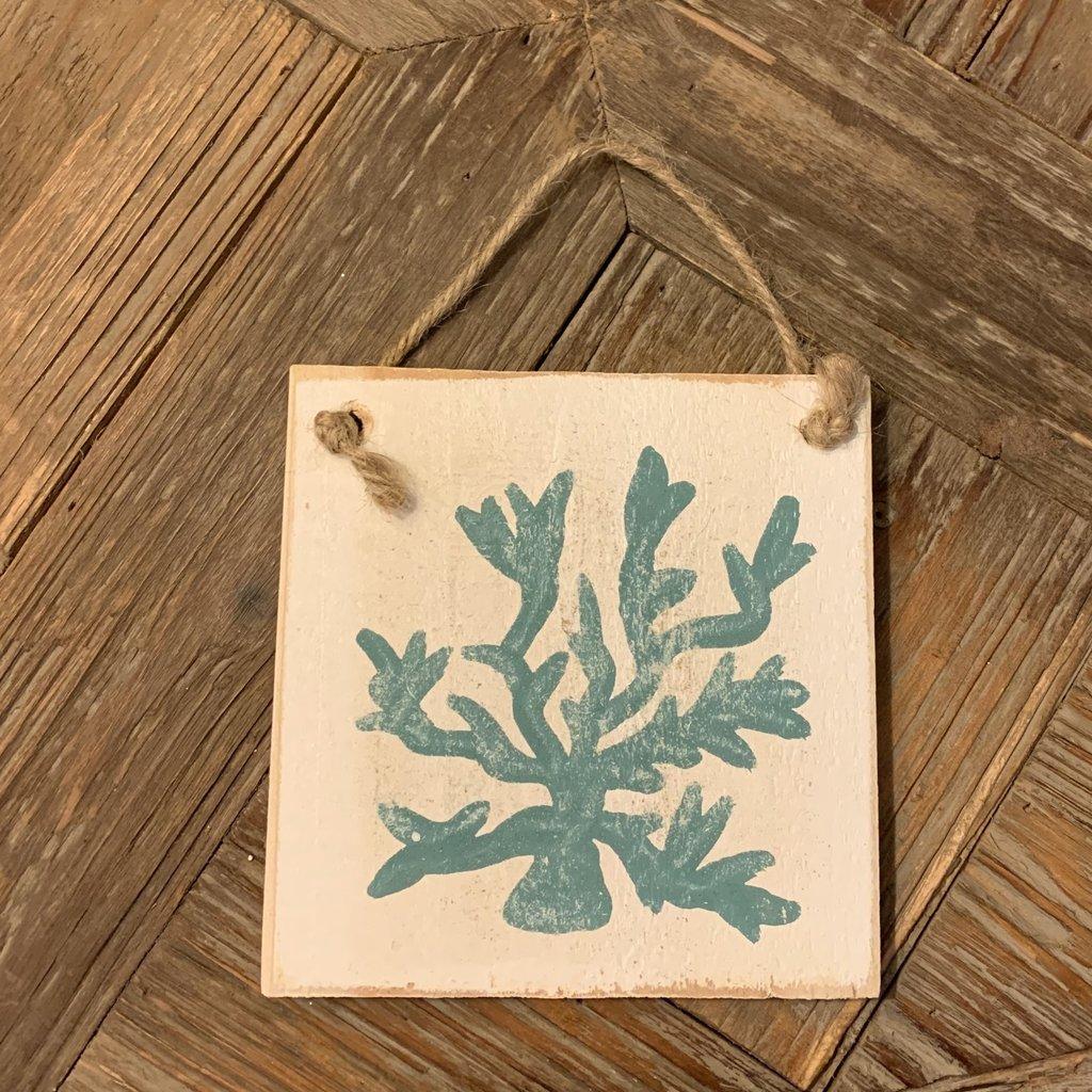 Wood Hanger - Teal Coral
