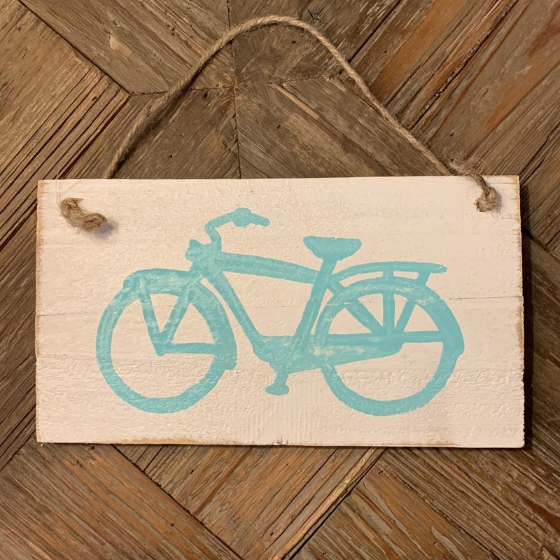 Wood Hanger - Lg Turquoise Cruiser Bike