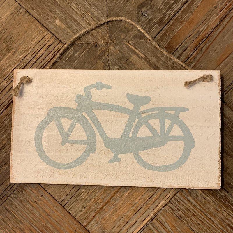 Wood Hanger - Lg Light Blue Cruiser Bike