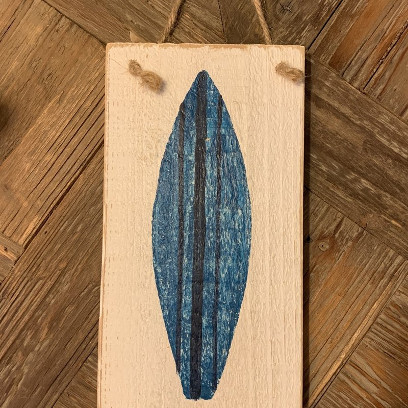 Wood Hanger - Lg Blue Surfboard
