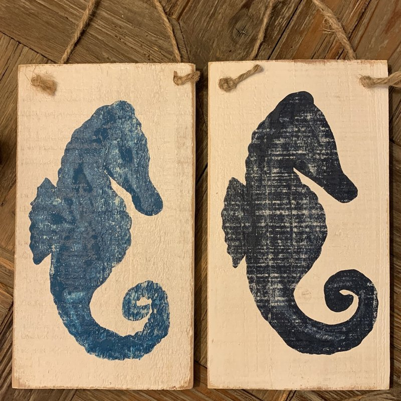 Wood Hanger - Lg Navy Seahorse