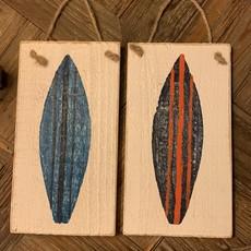 Wood Hanger - Lg Navy w/red Surfboard