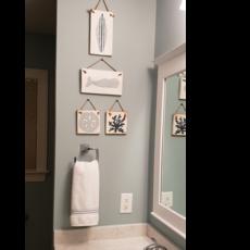 Wood Hanger - Lg Blue Cateye Shades