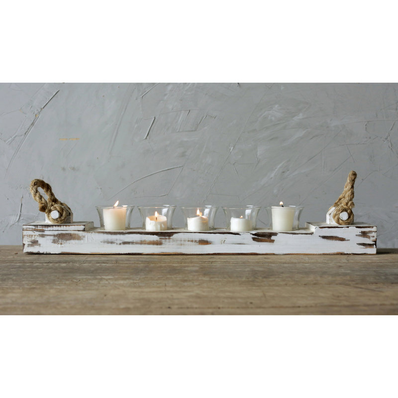 Wood Candle Holder w/glass votives