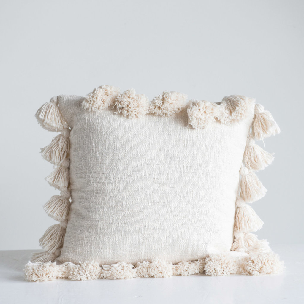 "The Garret 17"" Sq. Cotton Pillow w/tassels"