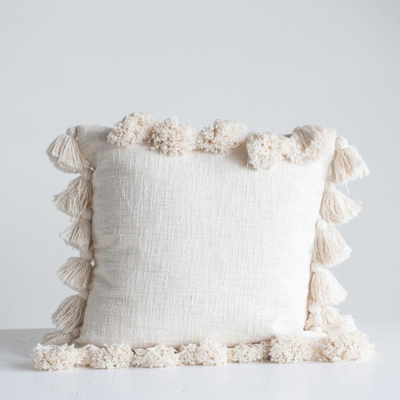 """The Garret 17"""" Sq. Cotton Pillow w/tassels"""