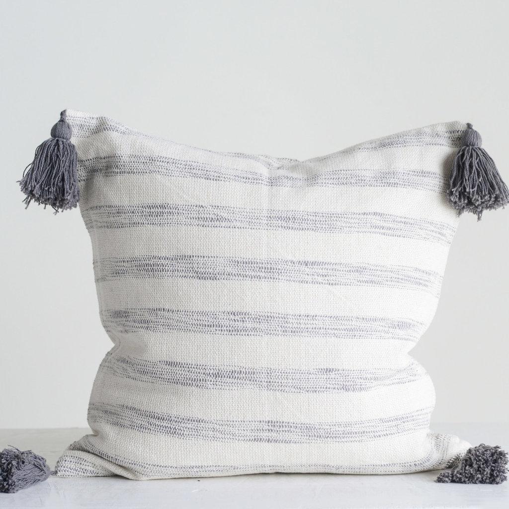 """The Garret 16"""" Sq. Cotton Stripped Pillow w/ tassels"""