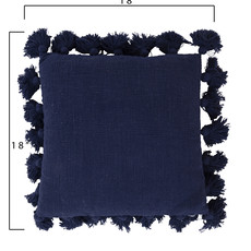 Navy Square Pillows w/ Tassels