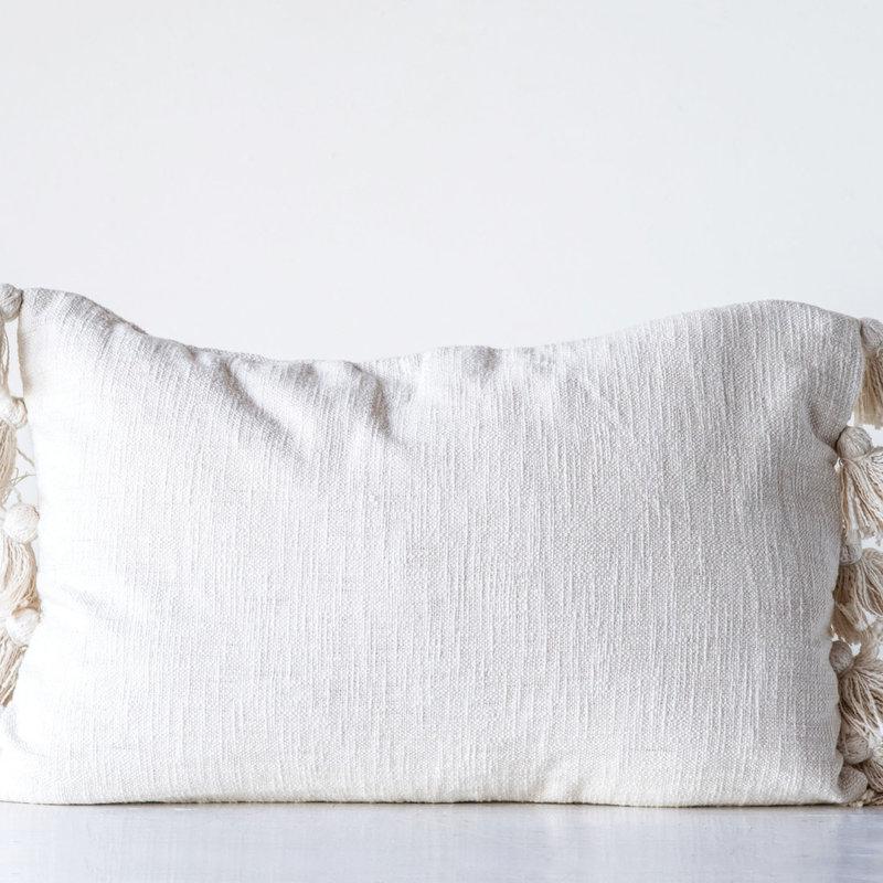 Cotton Woven Cream Pillow w/tassels