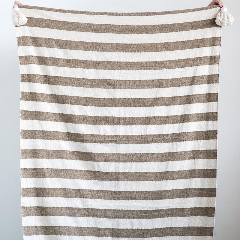 Cotton striped throw blanket w/tassels